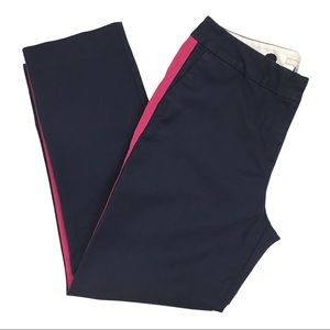 Boden Ankle Navy Pants with Pink Tuxedo Stripe